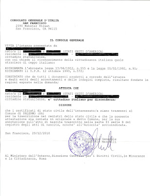 Italian Citizenship Notification Page Redacted