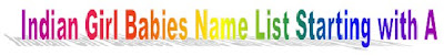 A starting letter Indian Girl Babies name list, A Starting Letter Tamil Hindu babies name list