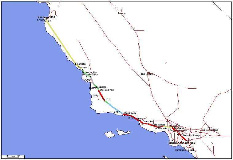 de Anaheim, CA 059 à Monterey, CA 053 / Distance: 529,50 km