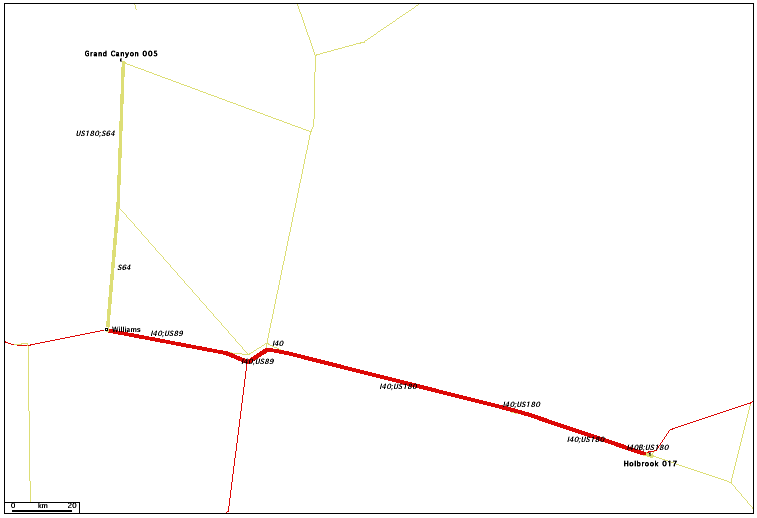 de Holbrook, AZ 017 à Grand Canyon, AZ 005 / Distance: 287,90 km
