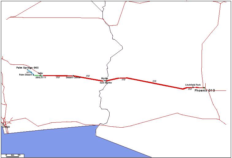 de Phoenix, AZ 013 à Palm Springs, CA 065 / Distance: 430,70 km
