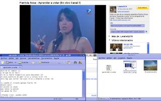 Ventana del navegador reproduciendo el video de Patricia Sosa, Aprender a volar. Archivo de texto donde voy copiando la letra. Carpeta donde voy guardando imagenes que representan la letra de Aprender a volar