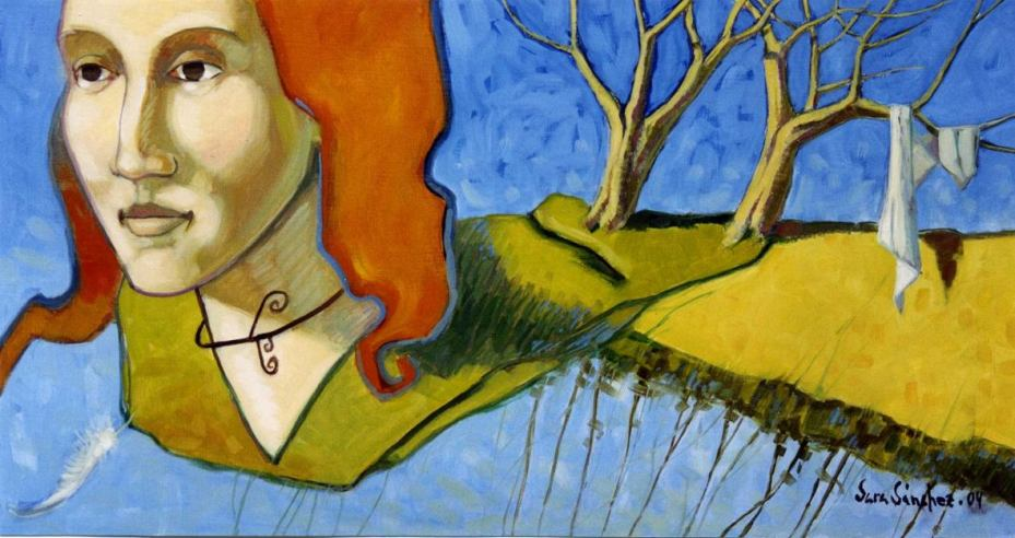 La Soledad (Mujer de la Pluma) Óleo sobre tabla. Copyright © Sara Sánchez 2004