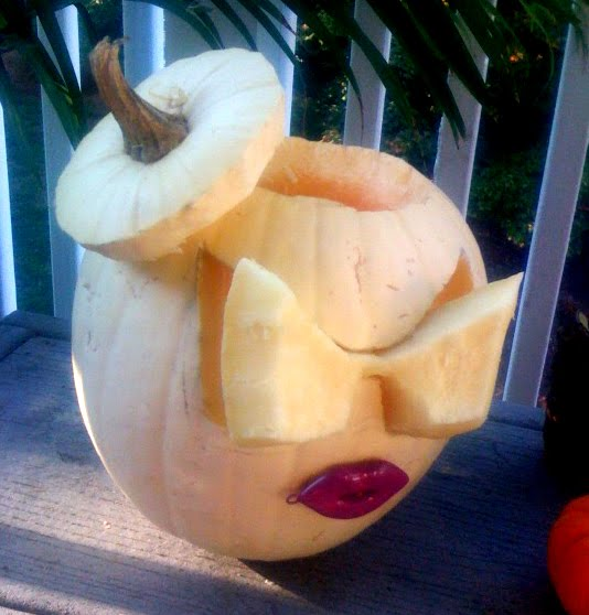 Pumpkin carved in the style of Lady Gaga
