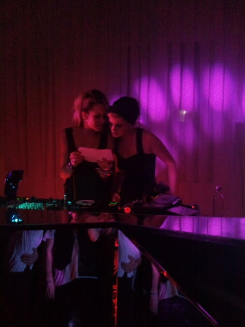 Pixie Geldof and Alice Dellal DJ at Qasimi party