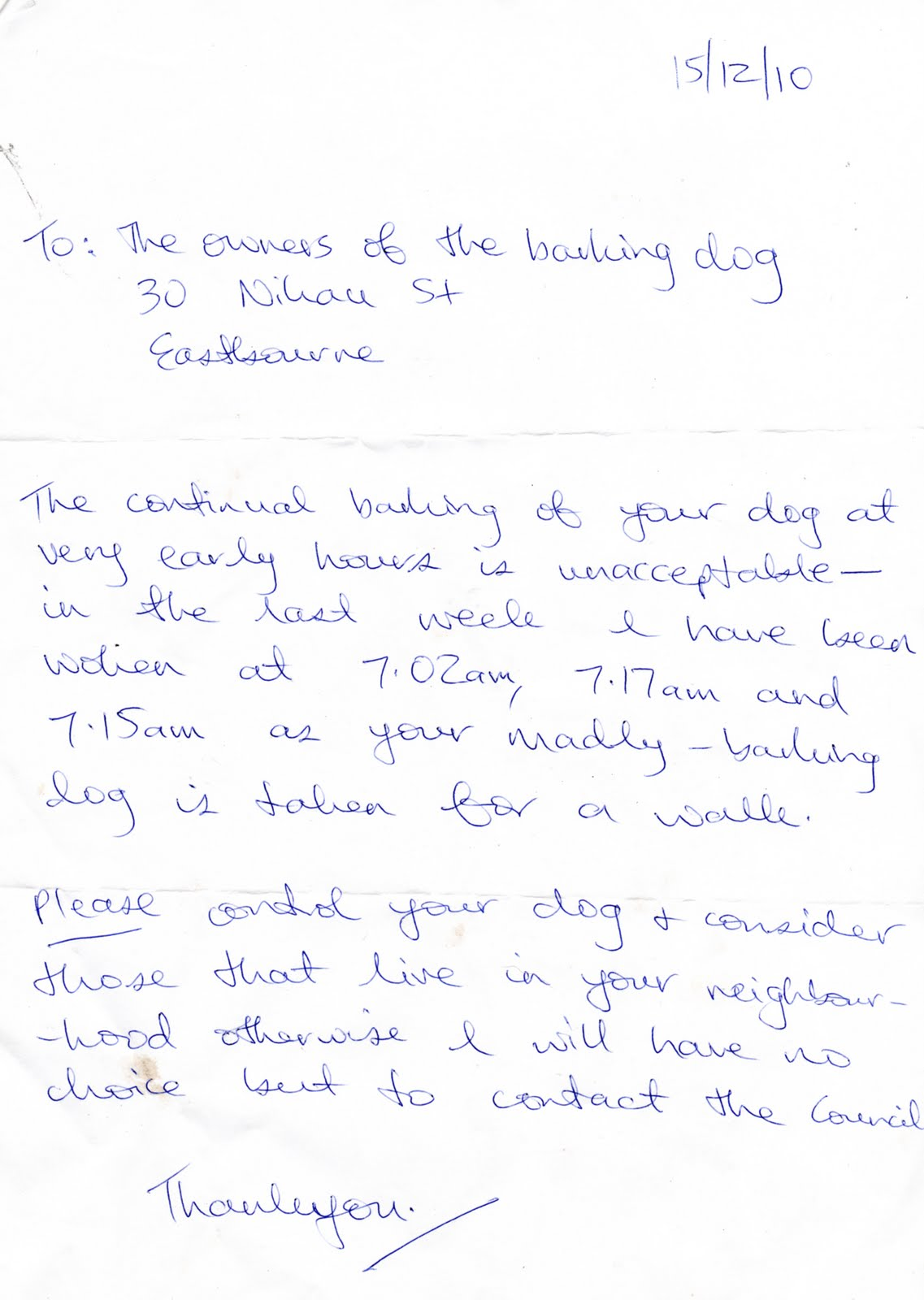 Council Letter About Constantly Barking Dog