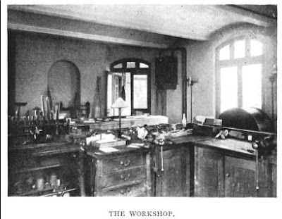 The Workshop in the basement of the New Physical Observatory, from E. Walter Maunder's 'The Royal Observatory, Greenwich: a Glance at its History and Work' (1900)