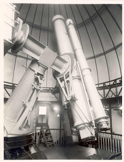 The Thompson 26-inch Photo-equatorial with photoheliograph mounted, in dome of the Physical Observatory, copyright NMM.