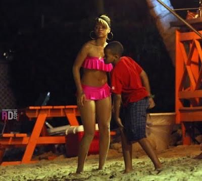 rihanna hot pink dress. Rihanna#39;s Hot Pink Beach Look