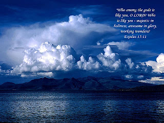Beautiful landscape nature bible verse wallpaper with hills, sea, clouds, and blue weather free religious verse backgrounds for desktop and PPT images download