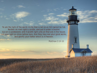 Matthew 5:14-16 bible verse desktop background picture about light and light house in the background download free Christian desktop background verse pictures and religious images about God
