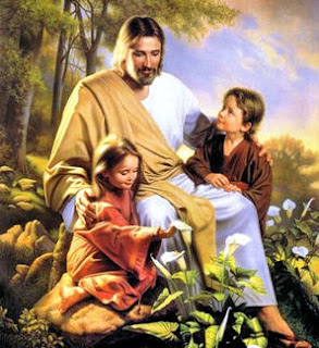 Jesus caring and teaching to the kids(boy and girl) drawing art color picture download Christian photos and religious images for free