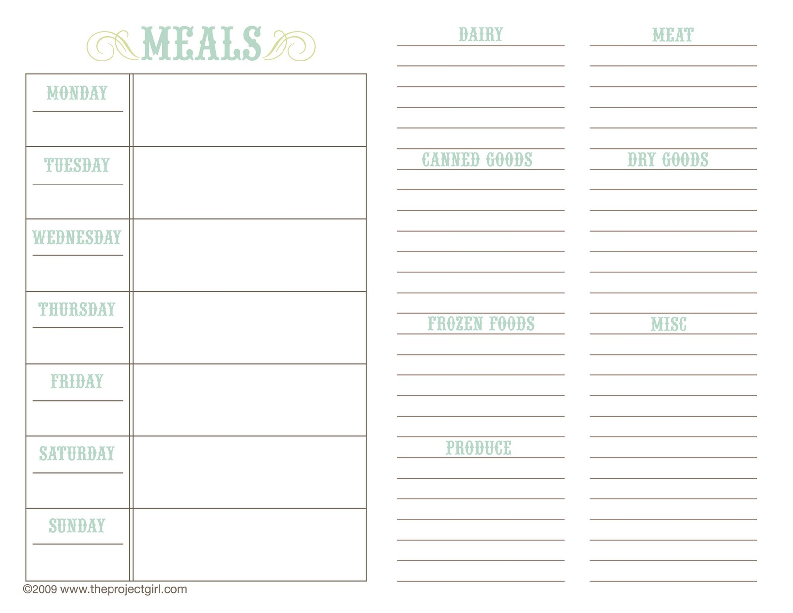 Meal planner calendar calendar template 2016 for Two week meal plan template