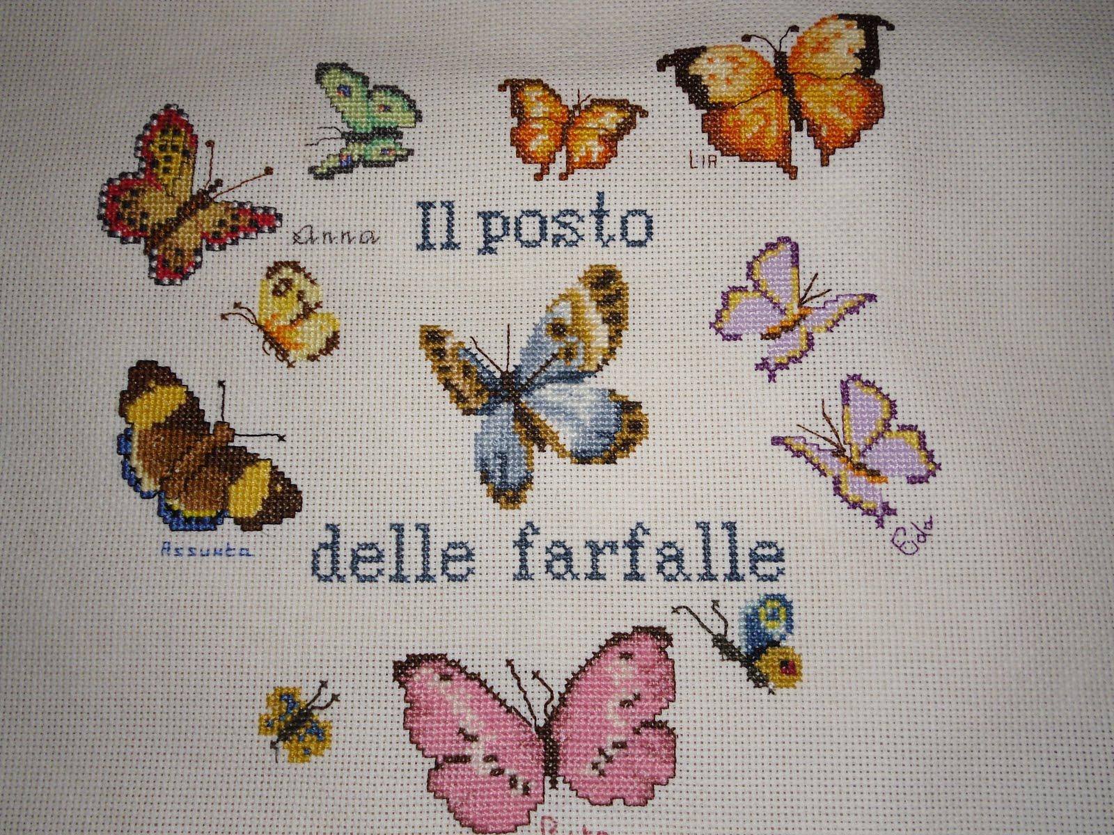 La comtesse le point de croix farfalle d 39 autunno for Punto croce farfalle