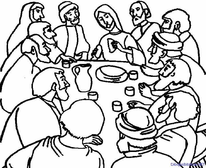 La Última Cena de Jesús. NT. Dibujo para colorear. B/N | Ana de ...