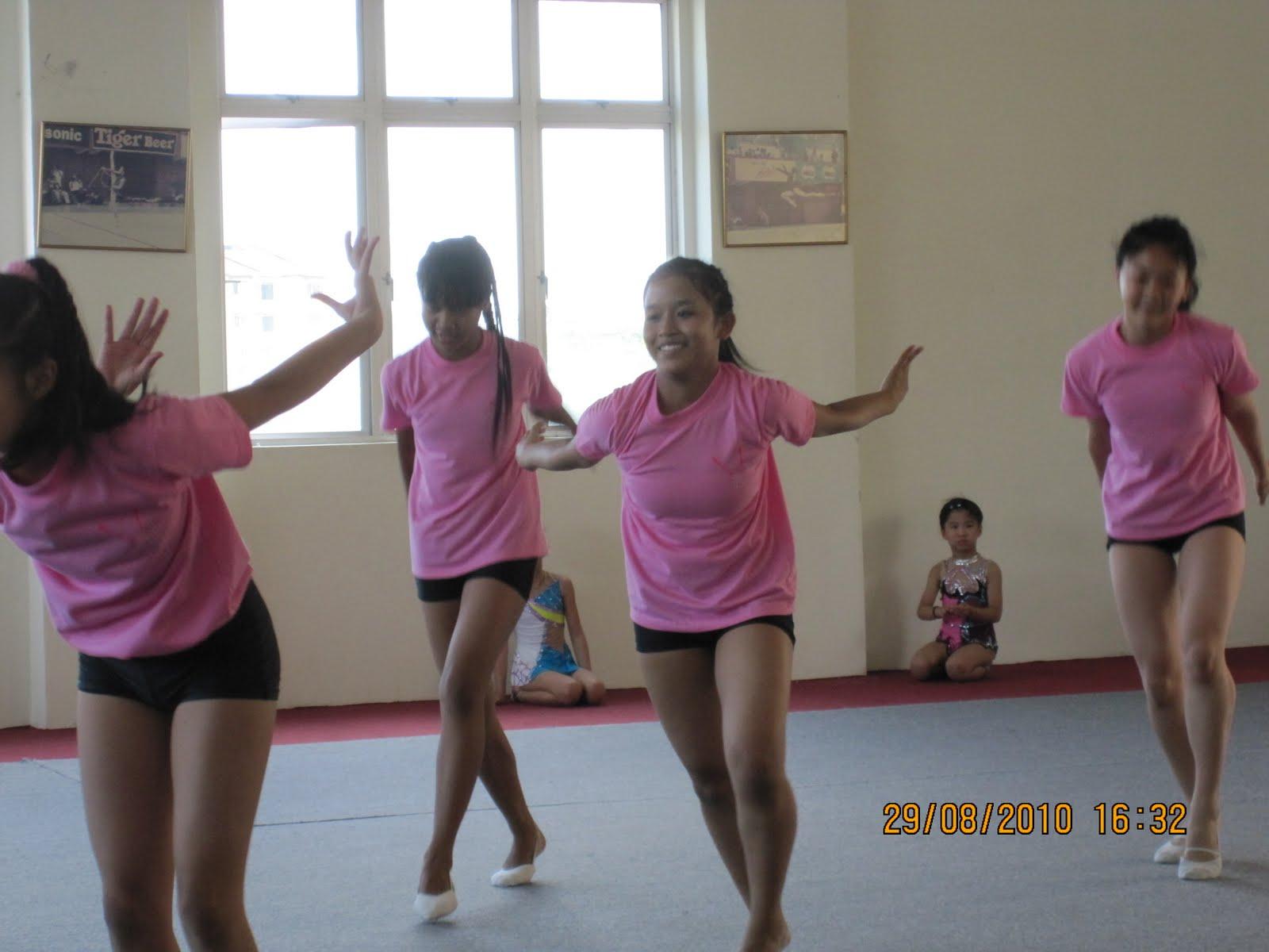 Rhythmic gymnastics pink clubs