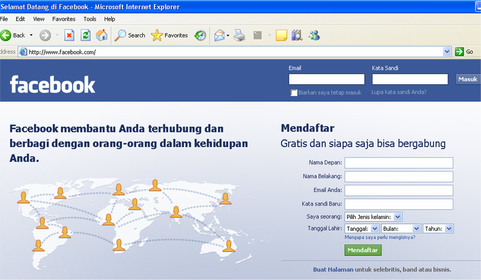 Pada kotak adres web bouser, ketikkan Facebook.com dan enter ...