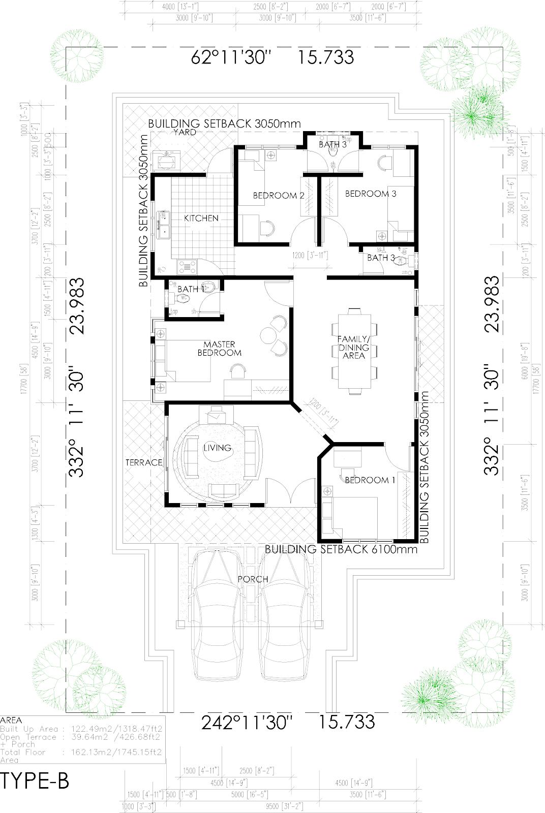 Pelan rumah banglo for Plan arkitek