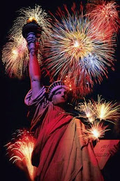 Fireworks and the Statue of Liberty