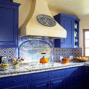 Dar color a los muebles de cocina decorando mejor for Blue and yellow kitchen decorating ideas
