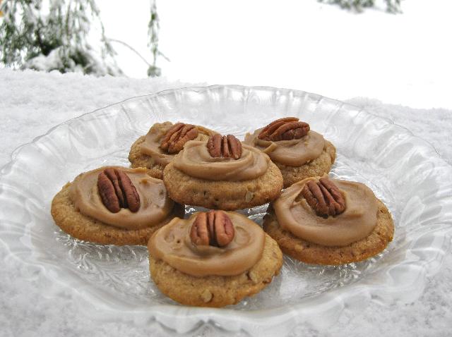 My Own Sweet Thyme: Pecan Praline Cookies with Brown Sugar Frosting
