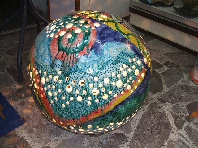 Pannello mattonelle ceramica piastrella vietri dec oro