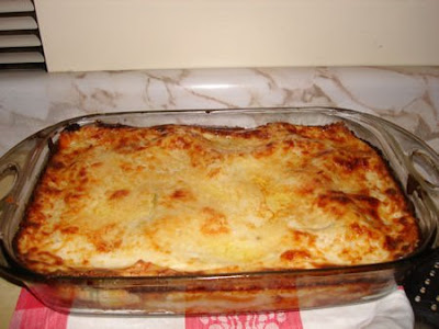 A view of freshly baked Beef Lasagna