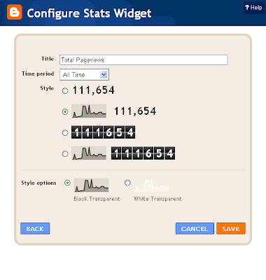 Configure Stats Widget
