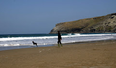 Trebarwith Strand - ball games on the beach