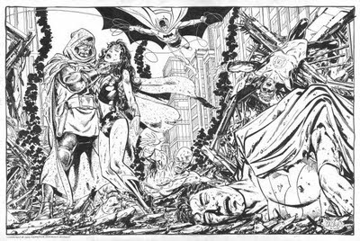 Dr. Doom defeats the JLA in this commissioned art from John Byrne