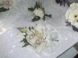 orchid corsage for mother of the bride