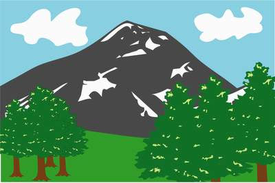 mountain peak and pines