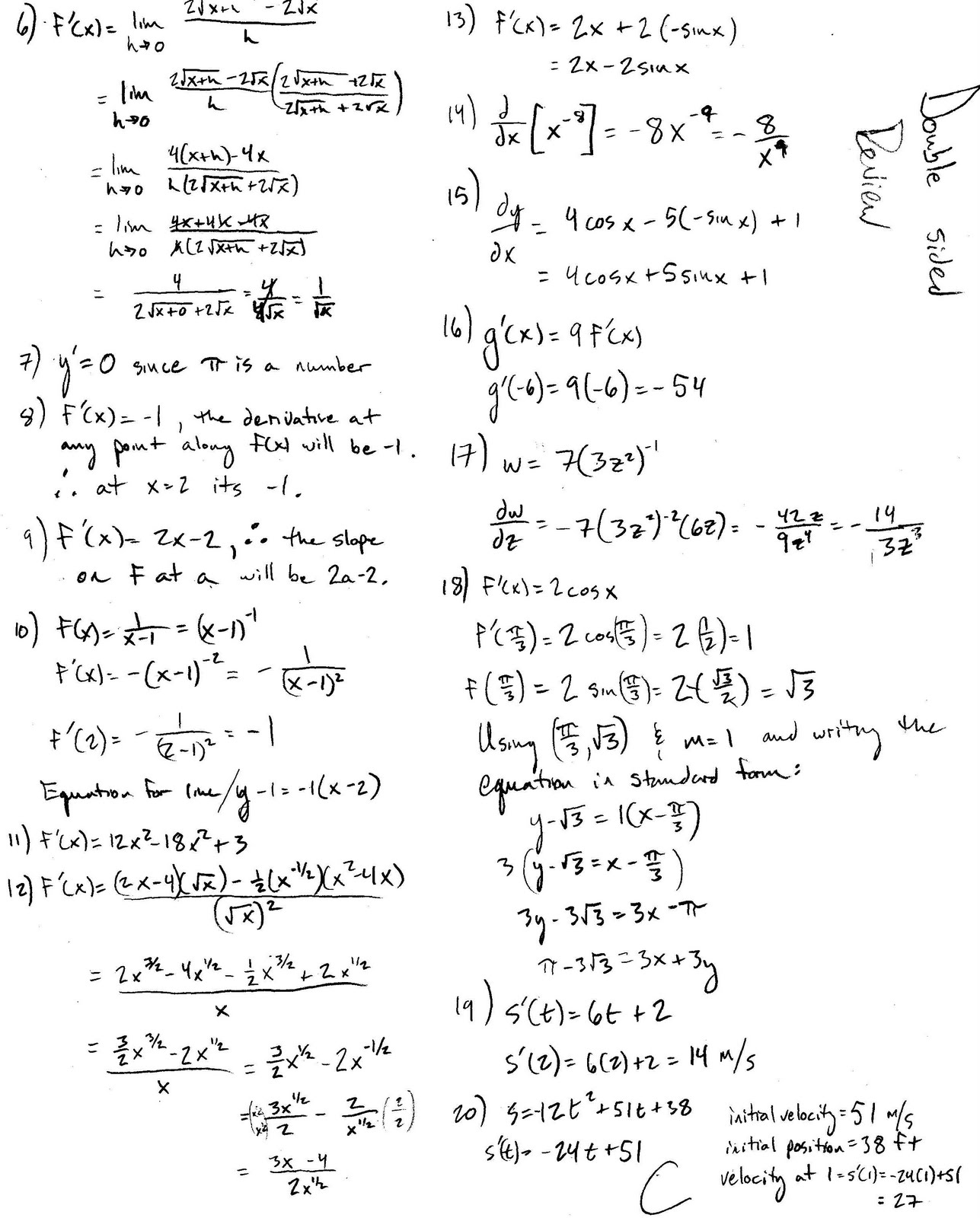 Differential calculus worksheets pdf