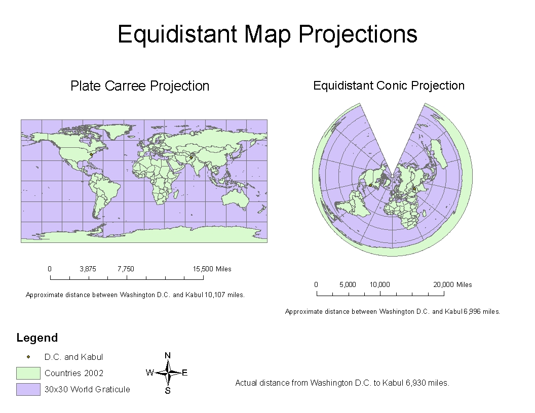 above equidistant world map projections illustrating distance from washington d c to kabul map projections help us represent 3 dimensional objects on to