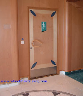 We love the door handles and the automatic door opener for this restroom on Mariner of the Sea.