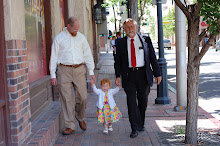 Jeff, Bella, and Pappap walk downtown Albuquerque