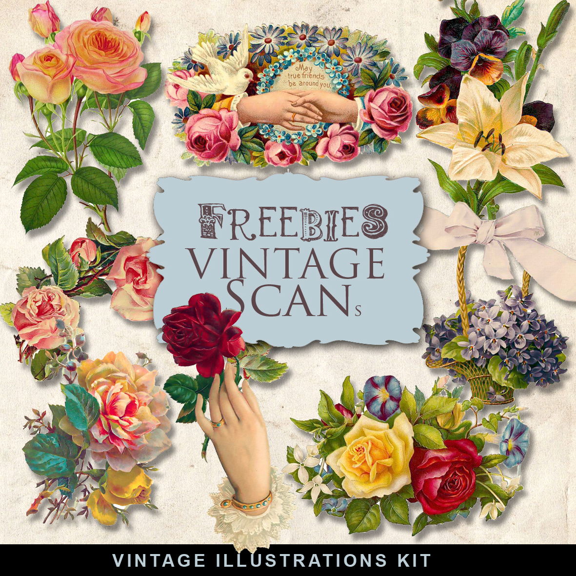 Freebies Kit Of Vintage Flower Vignettes:Far Far Hill