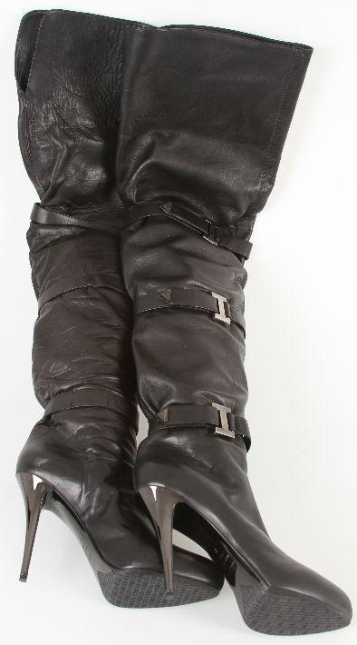 ebay leather lezilla italian black leather thigh boots