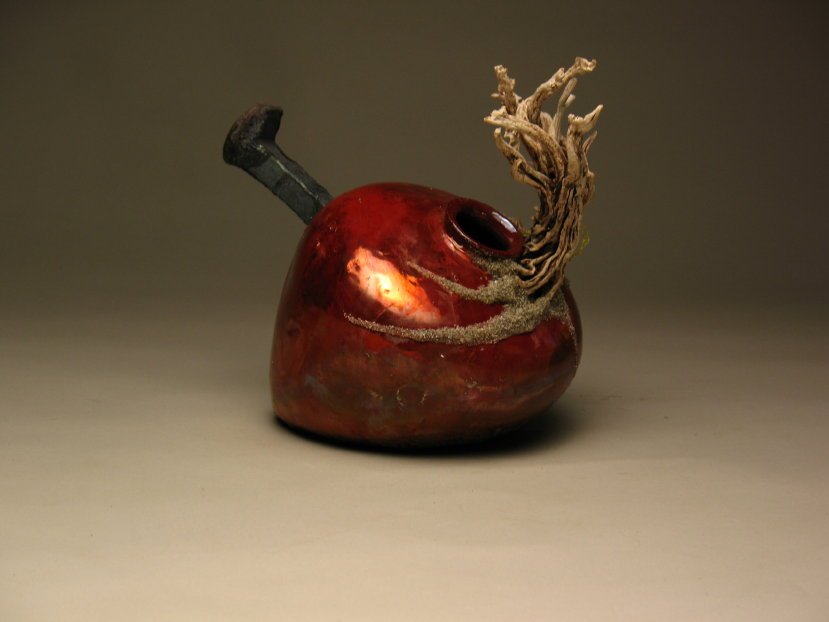 Fired Earth: Old Growth Blood Mask, 2007, ceramics, wood and metal