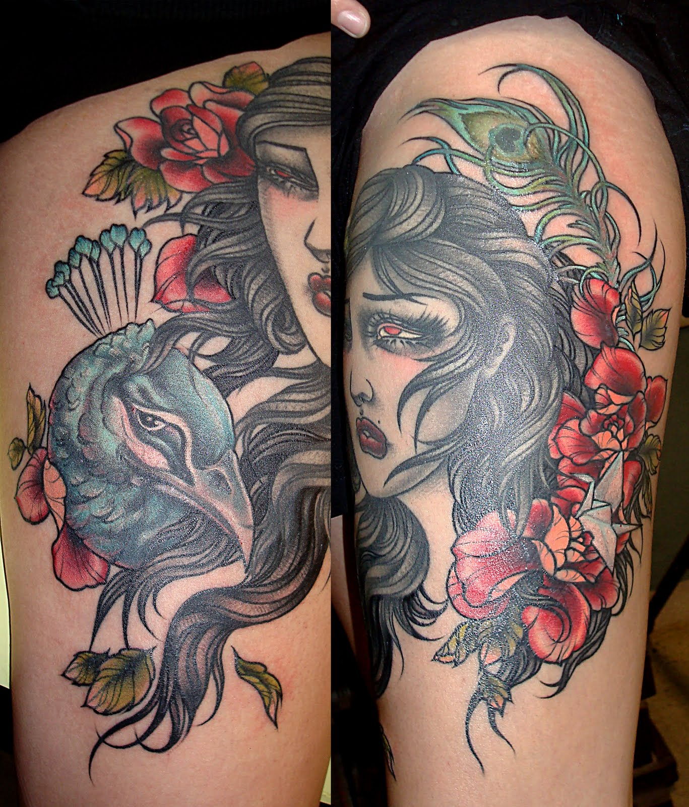 Thigh tattoos for girls tattoos art for Feather tattoo on thigh
