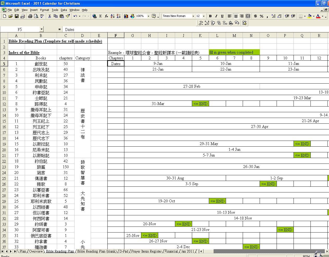 Bible reading plan excel spreadsheet