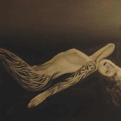 """Lydia the Tattooed Lady "", 2008 6"" x 6"", oil on gessoed hardboard"