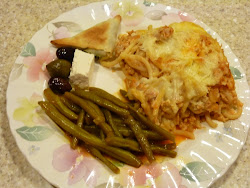 Greek Night:  Pastitsio, Stewed Green Beans (fasolakia), Spanakopita, Feta, and Kalamata Olives
