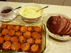 Glazed Ham, Candied Yams, and Mashed Cauliflower