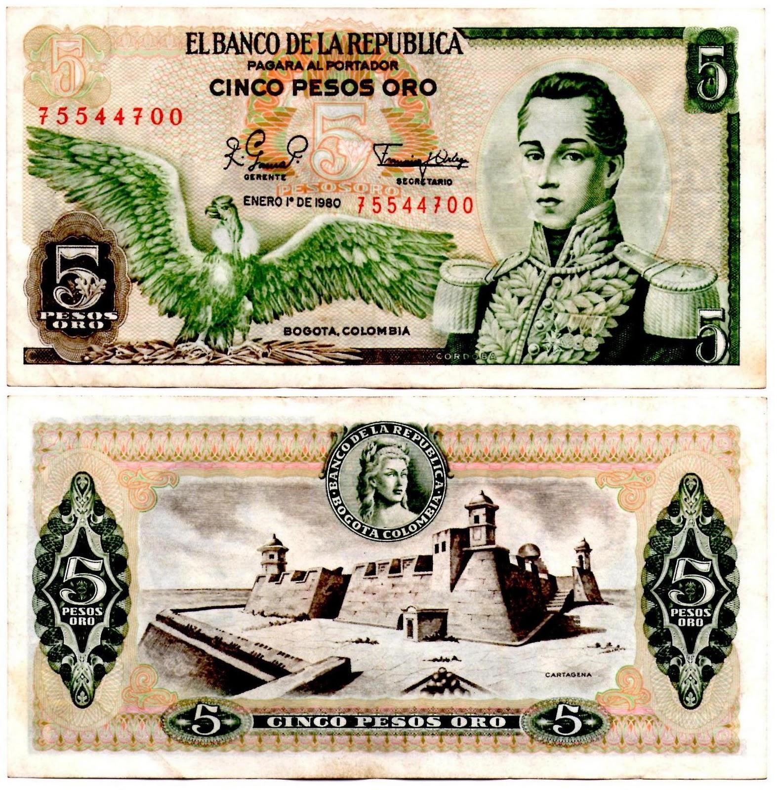 Billetes de Doscientos Pesos billete 5 Pesos Oro Agosto 7