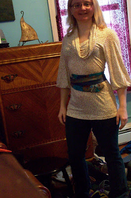 Designer Virginia E. Berry wearing lilian asterfield obi belt and treasures from today's swap!