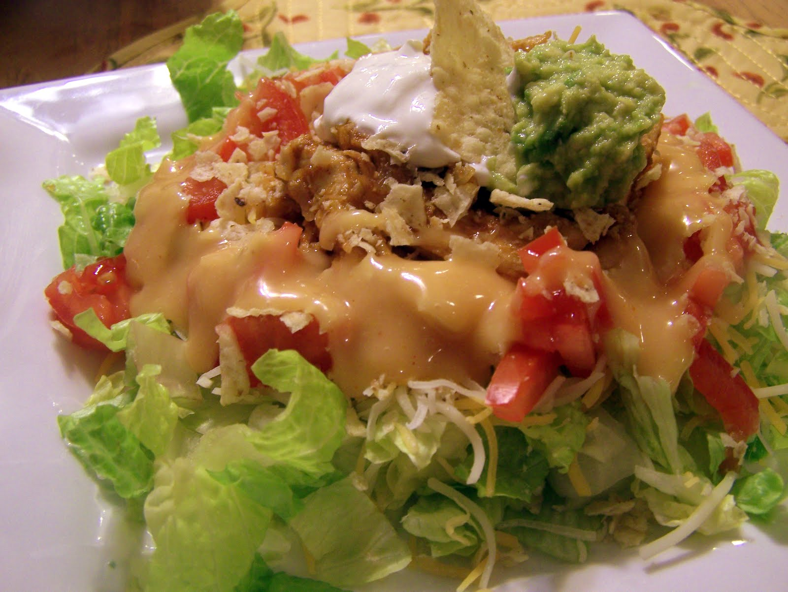 ... taco salad but not really for the traditional beef taco salad so today