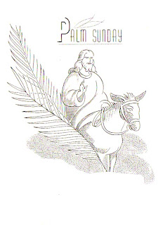 Jesus on donkey coloring page with palms and Palm Sunday line art drawing image free Christian images and bible verse wallpapers
