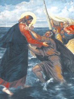 Jesus Christ helping peter in the sea water and twelve apostles seeing from the boat Christian religious story photo free download
