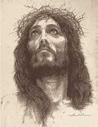 Jesus Christ looking towards sky with crown of thorns drawing Christian image